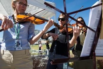 Jennie Jorgenson has been working at the National Renewable Energy Laboratory in Golden, CO since 2012. Here she's on campus, playing music with colleagues. Photo credit Dennis Schroeder