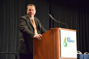 Bioenergy Technologies Office (BETO) Director Dr. Jonathan Male speaking at Bioenergy 2016: Mobilizing the Bioeconomy through Innovation.