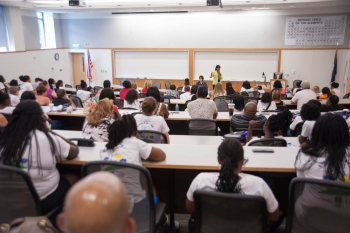 Female engineers from SSC Atlantic and local industry partners shared their backgrounds, explained their work, and encouraged the girls to think about STEM careers at the Girls Day Out event in Charleston, South Carolina.