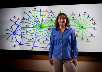 Dr. Katrina Waters, a senior research scientist at Pacific Northwest National Laboratory, uses proteomic and microarray data analysis, data integration and biomarker discovery to understand risks, such as the impact of energy-technology-related nanoparticles.
