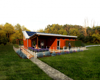 Made up of students from the University of Louisville, Ball State University and the University of Kentucky, the Kentucky/Indiana team decided to create a house that could serve as a permanent housing solution to a natural disaster.  Above is a rendering of the team's final house.   Photo courtesy of the Energy Department.
