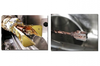 Before and after the shot: to the left, the target is mounted in the cryogenic positioning device, two copper-colored arms form a shroud around the cold target to protect it until they open five seconds before a shot. At the right, the remains of the target assembly.