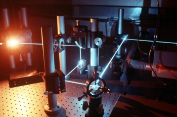 Lasers used for photovoltaic research in one of SERI's PV labs.   Photo courtesy of the National Renewable Energy Laboratory