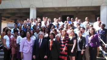 The 2013 class of Minority Educational Institution Student Partnership Program summer interns stand with Deputy Director of Minority Education Annie Whatley (front left), Secretary Ernest Moniz, and Dot Harris, Director of the Office of Economic Impact and Diversity.