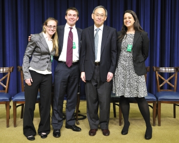 Secretary Chu with students from MIT at the Better Buildings Case Competition finale, held in Washington D.C. | Photo by Ken Shipp.