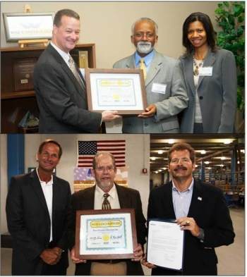 Top: MOX Services President Kelly Trice, left, presents a certificate to Wise President and Owner David Abney and Wise Marketing Director Renee Abney. Wise was recognized as a 2012 MOX Gold Supplier during a special presentation in Dayton. Bottom: Byers Precision Fabricators was recognized as a 2012 MOX Gold Supplier during a special presentation in North Carolina.  Steve Marr of MOX Services (left) and Kevin Hall of NNSA (right) present Roger Byers (center) with the award.