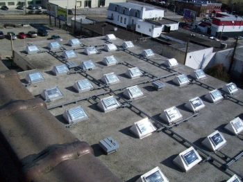 MBC Ventures' new product line provides daylight to building interiors and generates thermal energy that can be used to heat the building. | Photo courtesy of MBC Ventures, Inc.