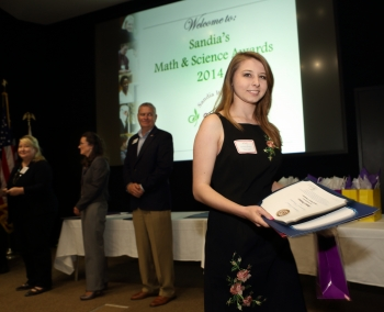 Renae Preston, a student at East Union High School, is all smiles after receiving her award for outstanding achievement in science at Sandia's 23rd annual Math and Science Awards. (Photo courtesy of Sandia Labs).