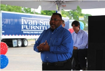 Cedric Glover, the Mayor of Shreveport, speaks during the opening of the CNG station at Ivan Smith Furniture.   Photo courtesy of Ivan Smith Furniture