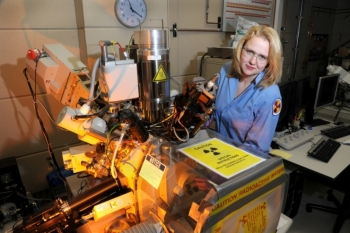 Melissa Teague is a nuclear material scientist at Idaho National Laboratory, working on a technique to analyze high burn-up fuels.