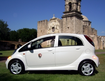 San Antonio Missions National Historical Park in Texas is installing two chargers with data collection capabilities to re-charge electric vehicles like this.   Photo courtesy of National Parks Service