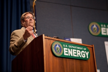 Above, Michael C. Kane speaks at the Energy Department's Feeds Family Sculpture Contest on August 30, 2011. In the fall of 2011, the Office of Personnel Management recognized Mr. Kane as the Chief Human Capital Officer of the Year. | DOE photo