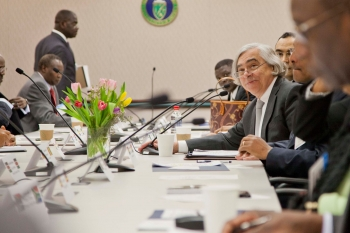 Secretary Moniz discusses the upcoming U.S.-Africa Energy Ministerial, a forum for showcasing African leadership in energy development, with over 35 ambassadors to the United States from across the African continent.