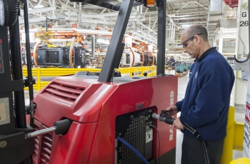 The plant BMW plant in Greer, South Carolina is home to the world's largest fleet of fuel cell forklifts.   Photo courtesy of BMW Manufacturing.