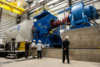 The new 5-MW dynamometer at the National Renewable Energy Laboratory's National Wind Technology Center was funded in part by the Energy Department through the American Recovery and Reinvestment Act. | Photo by Dennis Schroeder, National Renewable Energy Laboratory