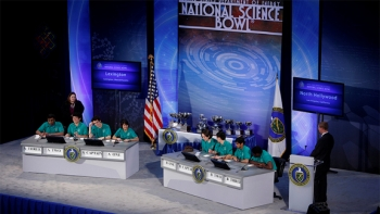 The Final Match at the U.S Department of Energy National Science Bowl in Washington, DC on April 30, 2012.   Photograph by Dennis Brack, U.S. Department of Energy, Office of Science