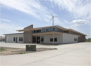 The new National Sequestration Education Center (NSEC) is a 15,000 square-foot sustainably designed center that will contain classrooms and training and laboratory facilities.   Photo courtesy of Richland Community College.