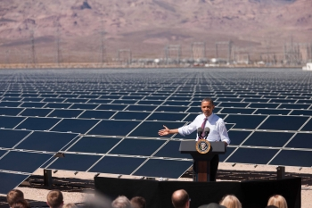 President Barack Obama delivers remarks on energy after a tour of a solar panel field at the Copper Mountain Solar 1 Facility, the largest photovoltaic plant operating in the country with nearly one million solar panels powering 17,000 homes, in Boulder City, Nevada, March 21, 2012. | Official White House Photo by Lawrence Jackson.