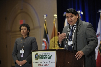 Nez Perce Chairman offers opening prayer at the Indian Energy Tribal Summit. | Courtesy of the Department of Energy