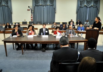 A panel on climate change is pictured here from the Congressional Forum on Minorities in Energy, held at the Rayburn House Office Building in Washington, D.C., on November 19, 2013. From left to right - Chandra Sina, Lead Financial Specialist at the World Bank; Leslie G. Fields, National Environmental Justice Director for the Sierra Club; Frank Niepold, Climate Education Coordinator, National Oceanic & Atmospheric Administration; Judith Greenwald, Deputy Director for Climate, Environment and Efficiency, Department of Energy; and Andre Pettigrew, Executive Director, Clean Economy Solutions. Moderated by Jackie Knox Brown, Special Assistant to Senator Thad Cochran, Former Assistant Secretary for Congressional and Intergovernmental Affairs, Department of Energy. Photo by Ken Shipp, DOE.