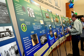 Displays at the event provide timelines and accomplishments of Oak Ridge's EM program.