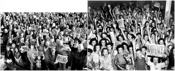 At left, people in Oak Ridge celebrate the Manhattan Project Historical National Park's launch in November 2015. Some in the crowd hold signs and newspapers marking the park's opening like residents did in 1945 when World War II ended (at right).