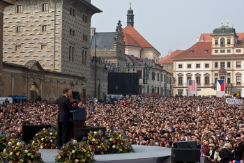 President Barack Obama delivers his first major speech stating a commitment to seek the peace and security of a world without nuclear weapons in front of thousands in Prague, Czech Republic, April 5, 2009. | Official White House Photo by Pete Souza