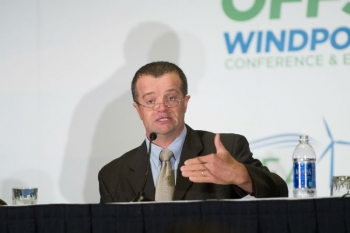 Deputy Assistant Secretary for Renewable Energy Steven Chalk speaks during the American Wind Energy Association WINDPOWER Offshore conference in Providence, Rhode Island.   Photo courtesy of American Wind Energy Association