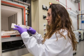 """Metallurgical and Materials Engineer Ozgenur """"Ozge"""" Kahvecioglu Feridun works on scaling advanced cathode materials for lithium-ion batteries at Argonne's Materials Engineering Research Facility."""