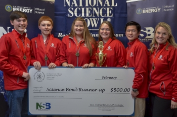 Placing second in the West Kentucky Regional Science Bowl's high school competition Feb. 17 was Calloway County High School Team 1.  They are: (Left to right) Zach Ellis, Marshall Thompson, Claire Umstead, Joza Mikvlcik, Michael Okuda, and coach Erica Gray.
