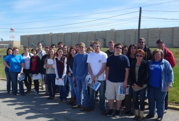 Marshall County High School AP Physics students toured the Paducah Gaseous Diffusion Plant Site in Western Kentucky as part of an environmental report project with DOE.  (Photo by Steve Christmas, Fluor Paducah Deactivation Project)