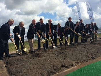 Deputy Secretary Daniel Poneman (sixth from left) joins in the groundbreaking of the world's largest post-combustion carbon capture facility | Photo courtesy of the Energy Department.