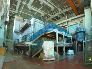 The Brookhaven Graphite Research Reactor's bioshield, which contains the 700-ton reactor core, is shown prior to decommissioning.