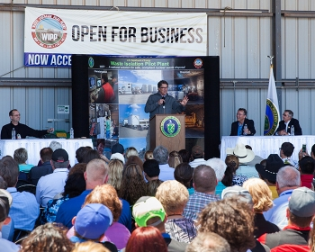 Energy Secretary Rick Perry addresses the Waste Isolation Pilot Plant workforce following a visit to the New Mexico facility.