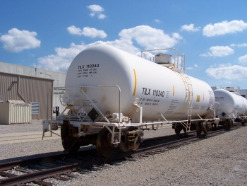 Pictured here are railcars carrying tanks of hydrofluoric acid for shipment from the Portsmouth site to Solvay Fluorides for industrial use.