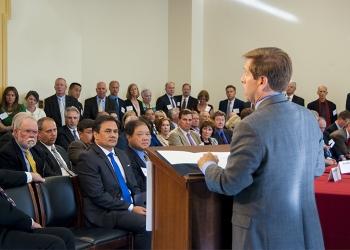 Caucus Chairman Rep. Chuck Fleischmann welcomes people attending the event.