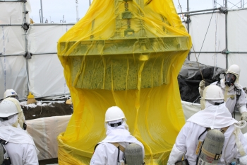 In December 2010, workers cut a 55-inch diameter hole in the top of one of Hanford's single-shell tanks in order to accommodate the MARS technology. The core and its associated cutting equipment were removed from the tank and encased in a yellow plastic sleeve to prevent the potential spread of contamination.