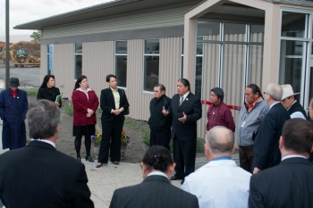 EM and Tribal leaders join in the celebration of the opening of the Umatilla Tribes' new field station and greenhouses funded in part by EM.