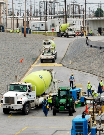 The first cement truck with the specially formulated grout arrives at the Savannah River Site earlier this month.