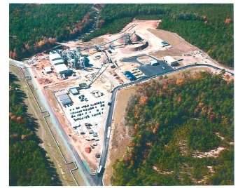 A view of the biomass-fired cogeneration facility at the Savannah River Site.
