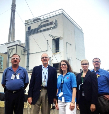 Pictured during a tour of WVDP, left to right, are EM Deputy Assistant Secretary for Acquisition and Project Management Jack Surash, Senior Advisor for Environmental Management David Huizenga, WVDP Operations Manager Catherine Bohan, EM Public Participation Specialist Elizabeth Schmitt and WVDP Director Bryan Bower.