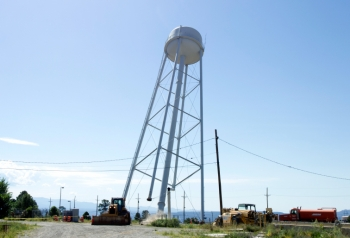 The East Water Tower falls.