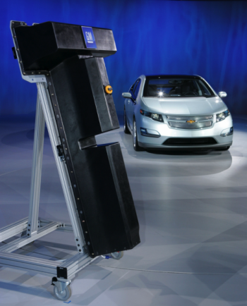 Chevy Volt and replica battery | Photo Courtesy of Argonne Lab's Flickr