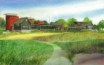 Watercolor print of the Aldo Leopold Nature Center (ALNC) with new facilities.