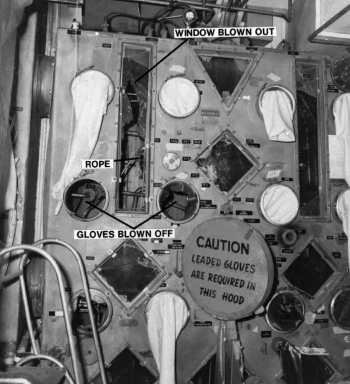 The force of the 1976 explosion blew windows and gloves from the glove box, leaving the facility heavily contaminated to this day.