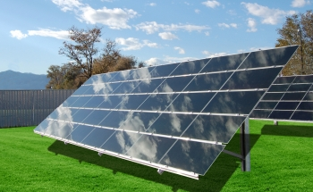 "Thin film solar panels produced by General Electric's PrimeStar in Arvada, Colorado | Image courtesy of <a href=""http://edelman.com/"">Edelman</a>."