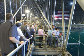 The Wave Energy Prize teams got to tour the 12-million gallon Maneuvering and Seakeeping (MASK) Basin at the U.S. Navy's Carderock facility in Maryland, where their devices will be tested this summer.
