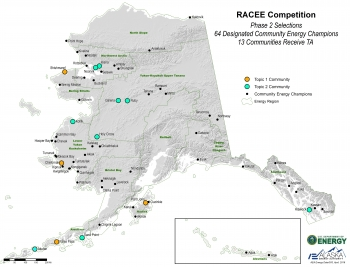 This map shows the 64 communities throughout Alaska designated as Community Efficiency Champions and 13 who are receiving technical assistance to reduce per capita energy consumption 15% by 2020.