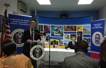 Deputy Secretary Poneman speaks to government officials, energy industry leaders and engineering students at the American Cultural Center in Maputo, Mozambique.   Photo courtesy of the Energy Department.