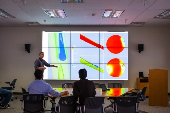 The visualization center for the SBEUC (Simulation Based Engineering User Center). Located at the Department's National Energy Technology Laboratory in Morgantown, W. Va., the SBEUC will be powered by a high performance computer that will allow researchers to simulate phenomena that are difficult or impossible to probe experimentally. The results from simulations will become accessible through user centers that provide advanced visualization capabilities and foster collaboration among researchers. The SBEUC will be used for developing and deploying simulation tools required for overcoming energy technology barriers quickly and reliably.